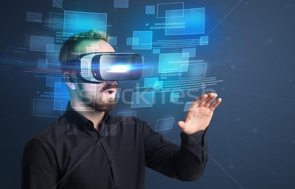 Stockfoto: Zakenman · virtueel · realiteit · stofbril · verwonderd · gegevens