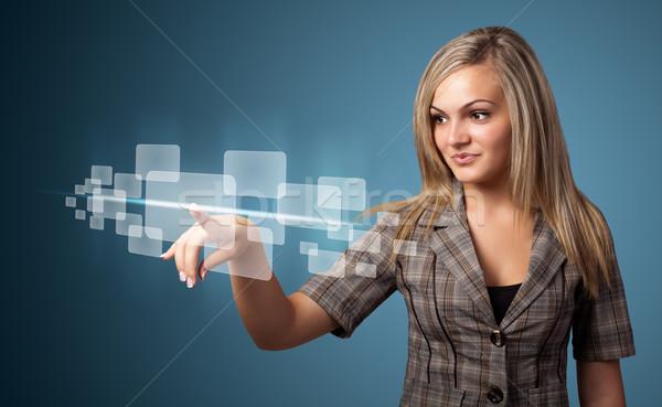 Stock fotó: üzletasszony · kisajtolás · magas · tech · modern