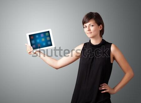 Stockfoto: Vrouw · moderne · tablet · kleurrijk · iconen