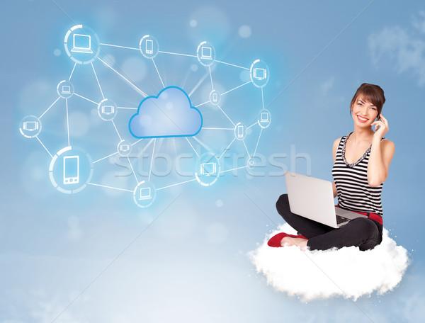 Mutlu kadın oturma bulut genç kadın Stok fotoğraf © ra2studio