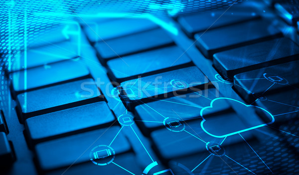 Stock photo: Keyboard with glowing cloud technology icons