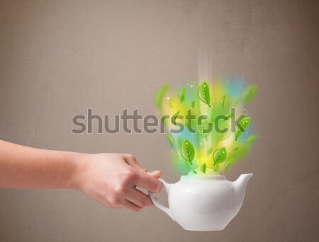 Tea pot with leaves and colorful abstract lights Stock photo © ra2studio