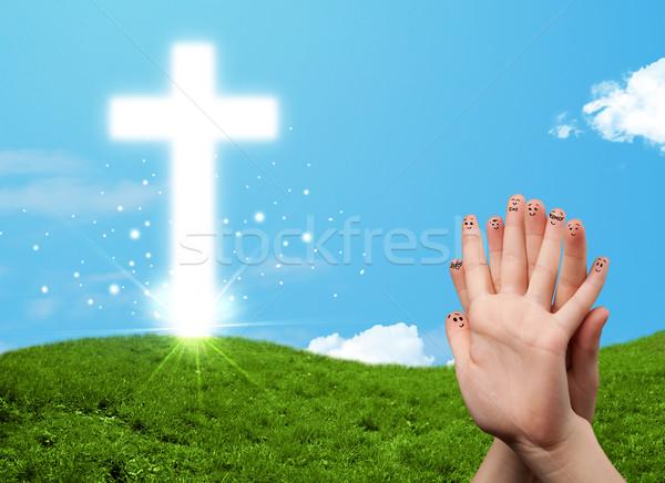 Feliz dedo smileys Christian religión cruz Foto stock © ra2studio