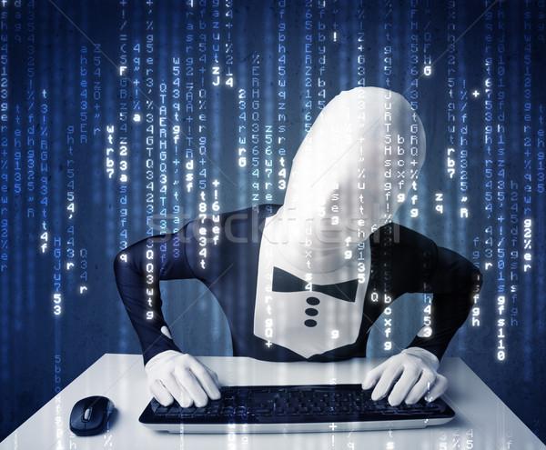 Hacker bilgi fütüristik ağ teknoloji beyaz Stok fotoğraf © ra2studio