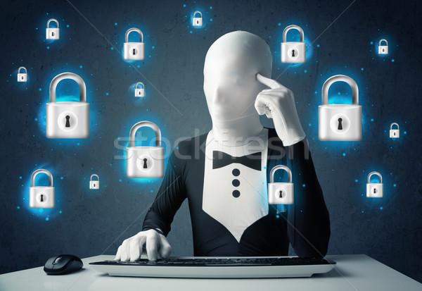 Hacker gizlemek sanal kilitlemek semboller simgeler Stok fotoğraf © ra2studio