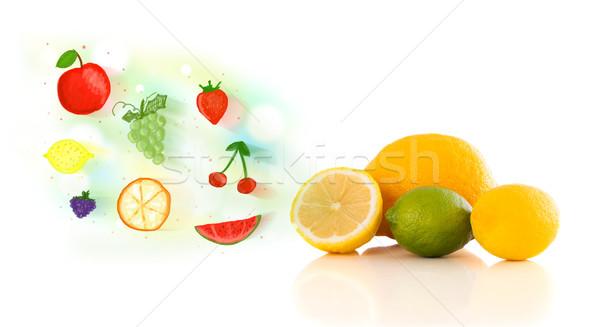 Kolorowy owoce ilustrowany biały żywności Zdjęcia stock © ra2studio