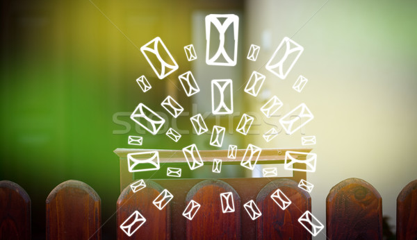 Mailbox brief iconen groene papier Stockfoto © ra2studio
