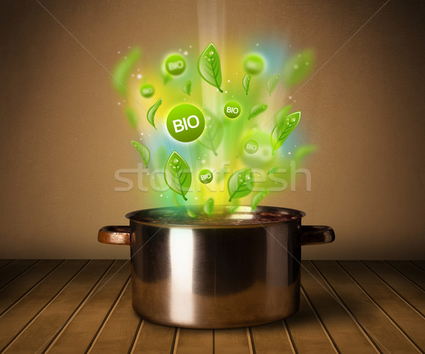 bio signs coming out from cooking pot Stock photo © ra2studio