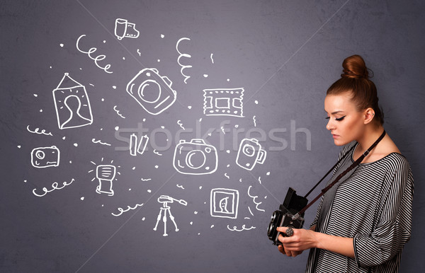 фотограф девушки съемки фотографии иконки молодые Сток-фото © ra2studio