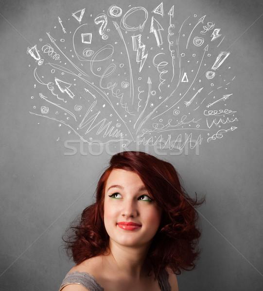 мышления Стрелки голову довольно Сток-фото © ra2studio