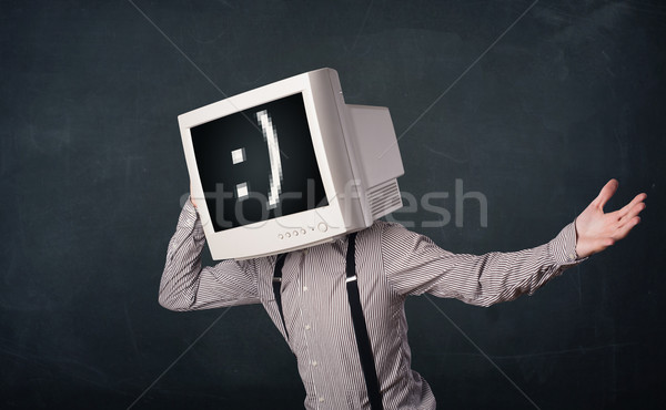 Divertente giovani imprenditore monitor testa Foto d'archivio © ra2studio