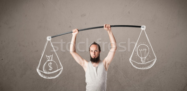 Magro ragazzo equilibrata divertente soldi uomo Foto d'archivio © ra2studio