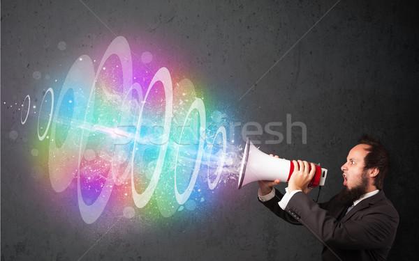 Stockfoto: Man · luidspreker · kleurrijk · energie · balk · uit