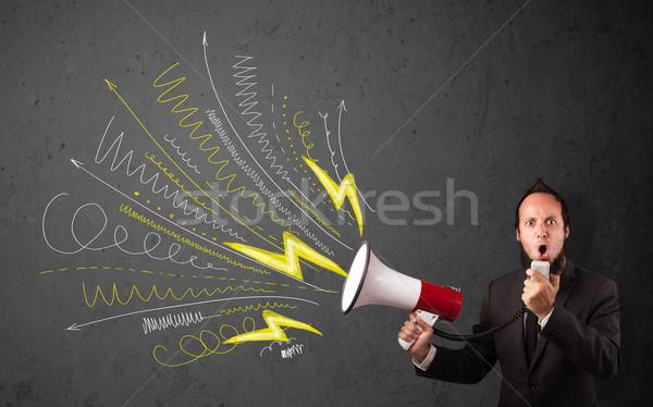 ストックフォト: リーダー · 男 · メガホン · 手描き · 行