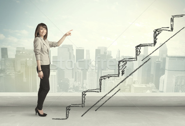 Business woman climbing up on hand drawn staircase concept Stock photo © ra2studio