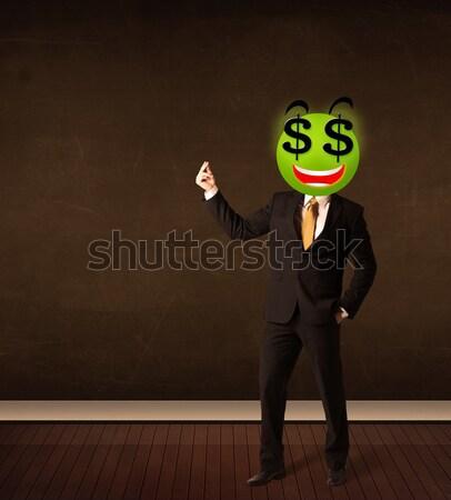 Férfi dollárjel mosolygós arc üzletember üzlet boldog Stock fotó © ra2studio
