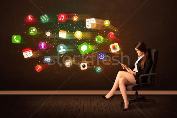 деловой женщины сидят офисные кресла таблетка красочный приложение Сток-фото © ra2studio