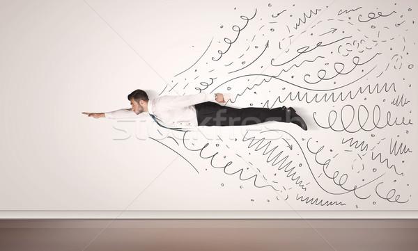 Zakenman vliegen lijnen uit business Stockfoto © ra2studio