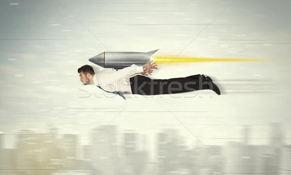 Foto stock: Homem · de · negócios · voador · jato · empacotar · foguete