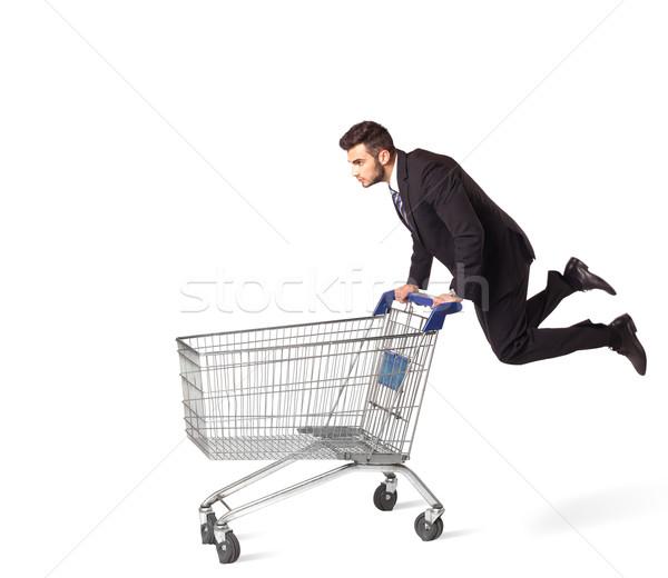 Biznesmen koszyk popychanie odizolowany ceny garnitur Zdjęcia stock © ra2studio