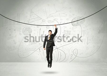 Stockfoto: Opknoping · zakenman · touw · analyse · grafieken · business