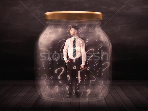 Empresário trancado jarra pontos de interrogação negócio vidro Foto stock © ra2studio