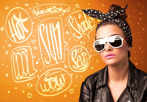 Cool teenager with summer sun glasses and vacation typography Stock photo © ra2studio
