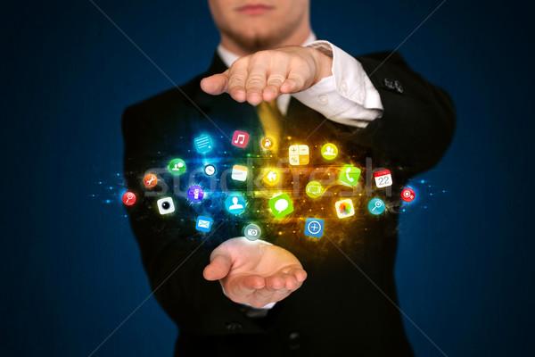бизнесмен приложение икона облаке Сток-фото © ra2studio