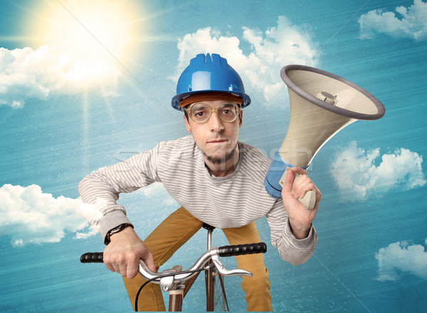 Nerd rider with bicycle and nice weather Stock photo © ra2studio