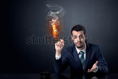 Biznesmen palenia piekło efekt ognia człowiek Zdjęcia stock © ra2studio
