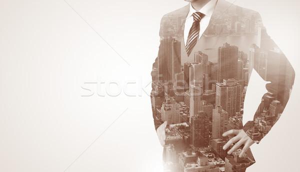 Man standing with black keyhole on his back Stock photo © ra2studio