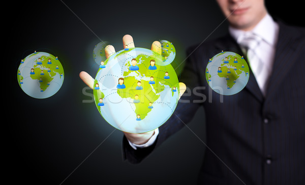 hand pressing Social network icon  Stock photo © ra2studio