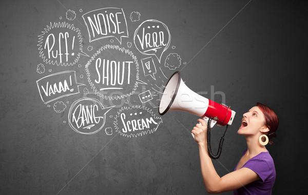 Csinos lány kiabál megafon kézzel rajzolt szövegbuborékok Stock fotó © ra2studio