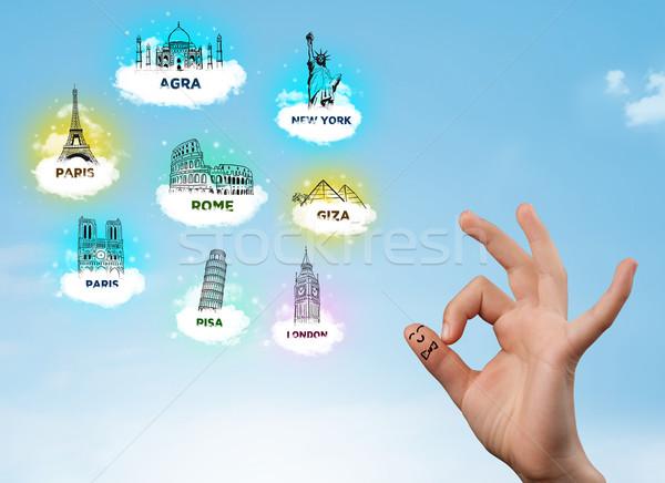 Vrolijk vinger smileys sightseeing iconen gelukkig Stockfoto © ra2studio