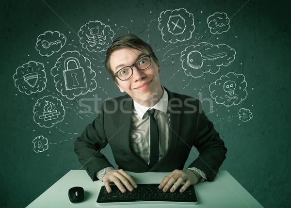 Fiatal stréber hacker vírus hackelés gondolatok Stock fotó © ra2studio
