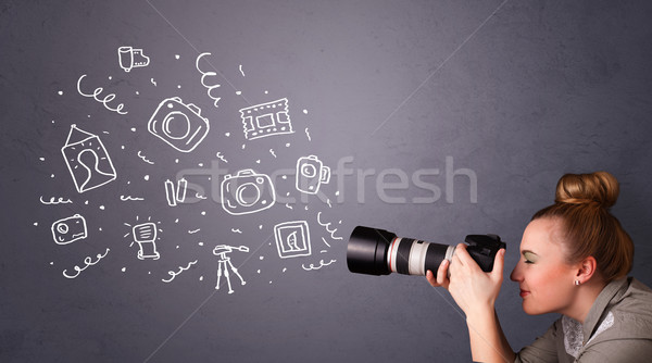 Fotógrafo menina tiroteio fotografia ícones jovem Foto stock © ra2studio