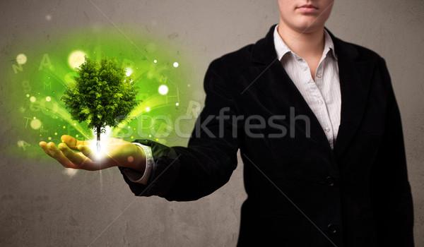 дерево растущий стороны деловая женщина молодые Сток-фото © ra2studio