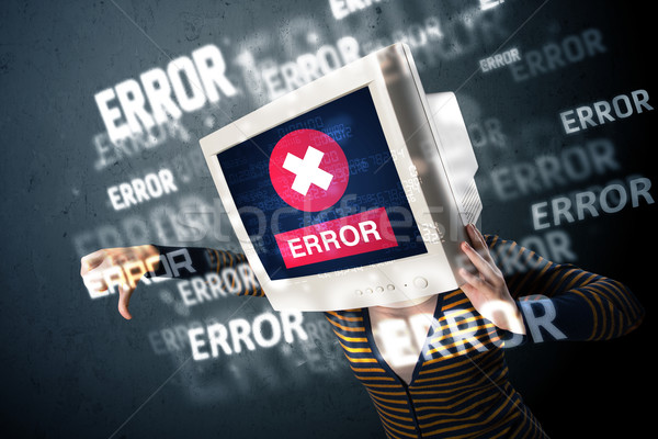 Homme suivre tête erreur signes écran Photo stock © ra2studio