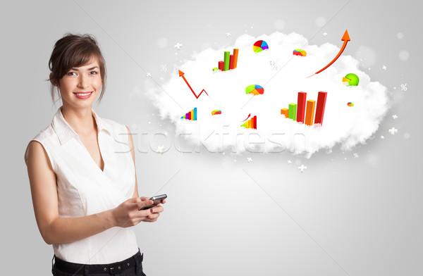 Młoda kobieta Chmura wykresy wykresy telefonu Zdjęcia stock © ra2studio