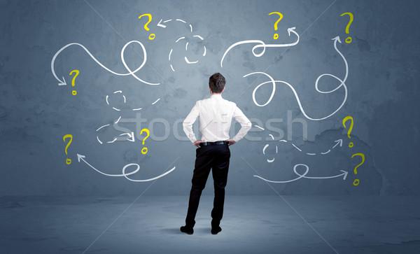 Empresario signos de interrogación vendedor dudar pueden no Foto stock © ra2studio