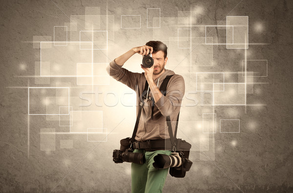 Homme professionnels hobby photographe caméra Photo stock © ra2studio