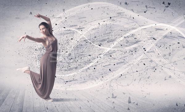 Atuação bailarino saltando energia explosão partícula Foto stock © ra2studio