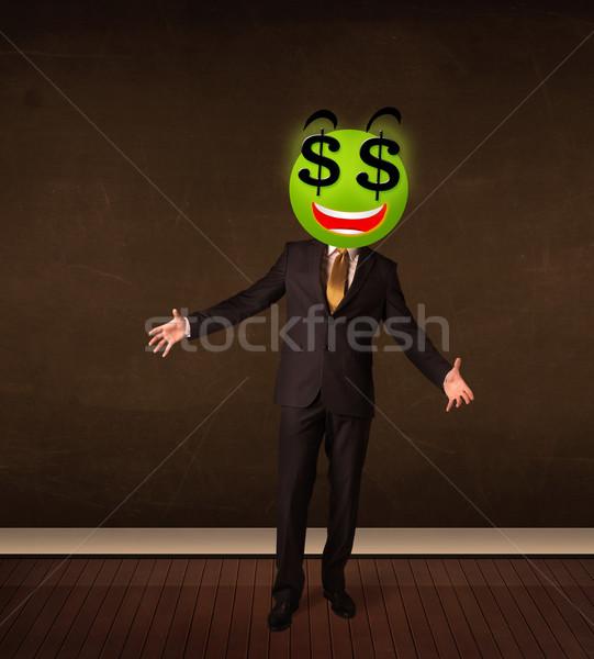 Mann Dollarzeichen Geschäftsmann Geld Lächeln Stock foto © ra2studio