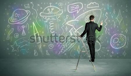 молодые бизнесмен рисунок ракета талантливый студент Сток-фото © ra2studio