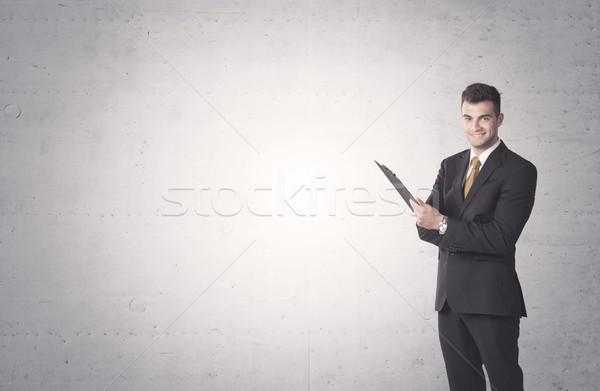 Stockfoto: Elegante · zakenman · jonge · verkoop · pak