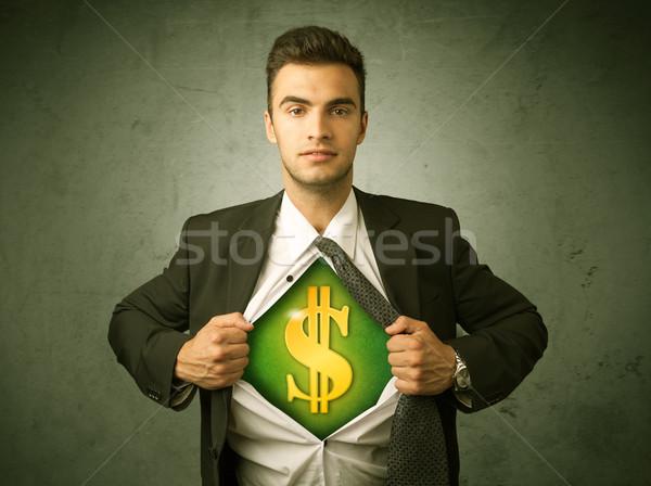 Geschäftsmann aus Shirt Dollarzeichen Brust Zeichen Stock foto © ra2studio