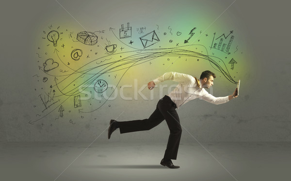 Business man in a rush with doodle media icons Stock photo © ra2studio