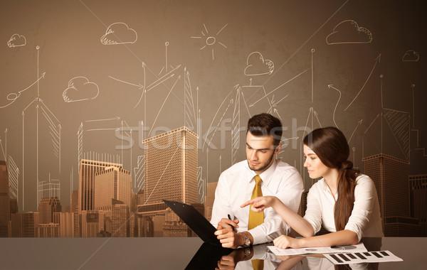 Iş çift binalar oturma siyah tablo Stok fotoğraf © ra2studio
