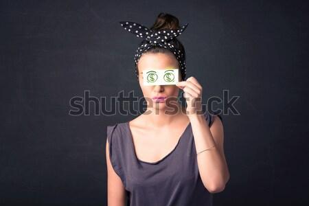 Genç kız kâğıt yeşil dolar işareti yüz Stok fotoğraf © ra2studio