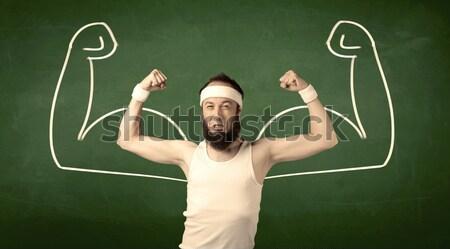 Skinny student wants muscles Stock photo © ra2studio